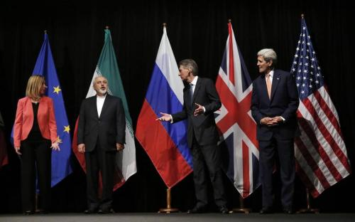Delegates prepared to take a group photo after the Iran nuclear deal was announced in Vienna