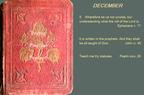 Prayer, promise, precept dec 05