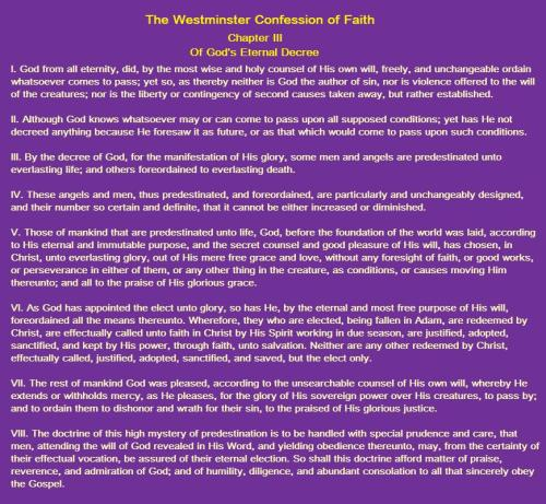 Westminster Confession 3 God's Decree